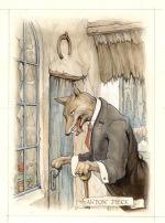 Illustratie voor De wolf en de zeven geitjes in het boek Sprookjes van de Efteling, 1973, potlood, waterverf, verzameling De Efteling, Kaatsheuvel.