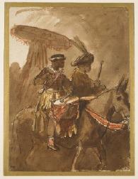 Rembrandt van Rijn, Twee trommelaars, 1637-38; papier, pen en krijt, Trustees of the British Museum.