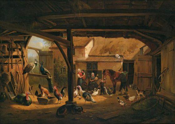 Henriëtte Ronner-Knip (Amsterdam 1821-1909 Brussel), Een binnenplaats van een boerderij in Berlicum, 1840-1848, olieverf op doek, 78 x 113 cm. Collectie Noordbrabants Museum, 's-Hertogenbosch.
