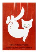 Frans Mettes, waarschuwingsaffiche Alleen vallende katten komen op hun pootjes terecht.