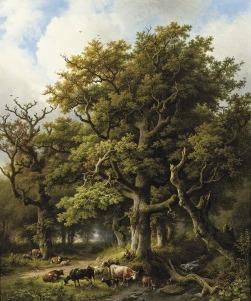 Barend Cornelis Koekkoek (1803-1862), Bosgezicht met herder en kudde, 1855, olieverf op doek.
