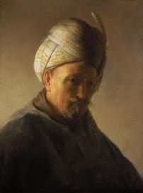 Rembrandt Harmensz. van Rijn, 1606-1669, Tronie van een oude man met tulband, olieverf op paneel, 26.5 x 20 cm, gesigneerd.