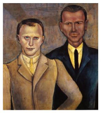 Otto Dix en Kurt Günther, Dubbelportret Otto Dix – Kurt Günther, 1920, olieverf op hout, Kunstsammlungen Gera.