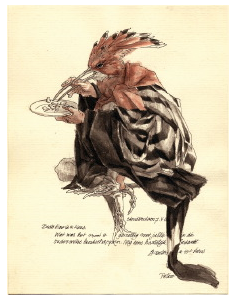 Peter Vos, Brief met etende hop (1985), pen en penseel, Rijksmuseum, Rijksprentenkabinet, Amsterdam.