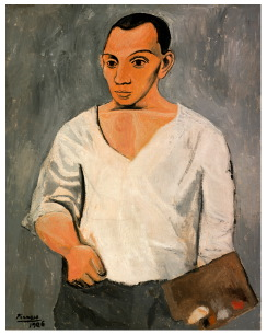 Pablo Picasso, Zelfportret met palet, 1906, Philadelphia Museum of Art, A. E. Gallatin Collection, c/o Pictoright Amsterdam 2011.