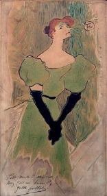 Een van de honderd werken waaruit gekozen kan worden: Yvette Guilbert van Henri de Toulouse-Lautrec (1864-1901), aardewerk (geglazuurd aardewerk), 1895.