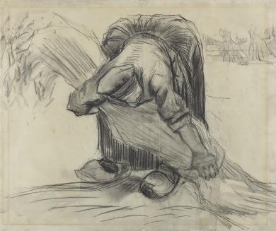 Vincent van Gogh (1853-1890), Schovenbindende boerin, jul-aug 1885, zwart krijt, grijs gewassen, sporen van fixatief, op velijn papier. © Kröller-Müller Museum, Otterlo.