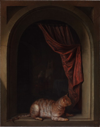 Gerrit Dou, Kat op balustrade, 1657. The Leiden Collection, New York.