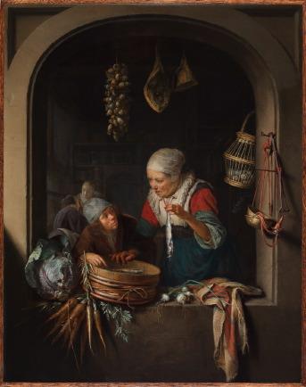 Gerrit Dou (1613-1675), Haringverkoopster en jongen, ca. 1670-75, The Leiden Collection, New York.