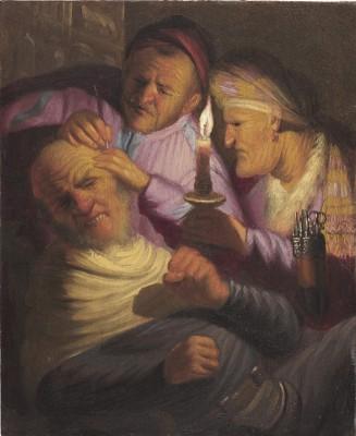 Rembrandt Harmensz van Rijn, De hoofdoperatie - allegorie op het zintuig van het gevoel, ca. 1624/25, olieverf op paneel, © The Leiden Collection, New York.
