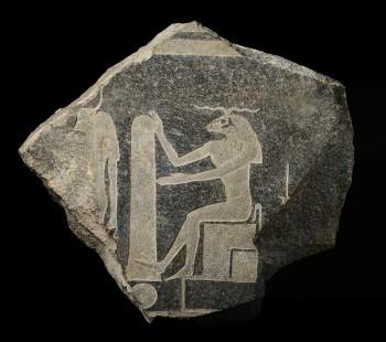 Reliëf van de god Chnoem, Egypte, 4de eeuw v. Chr., collectie Rijksmuseum van Oudheden, Leiden.