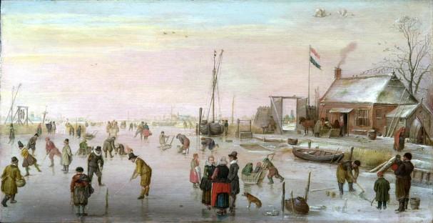 Hendrick Avercamp, IJsgezicht, ca. 1610-20.