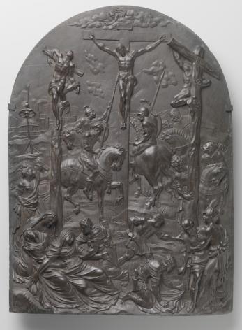 De Kruisiging, ca 1550-1560, oegeschreven aan de werkplaats van Nicolas II Palardin (?- Luik ca 1580) en Martin Fiacre (?-Luik 1601), zwart Theux-marmer, collectie Rijksmuseum, Amsterdam.