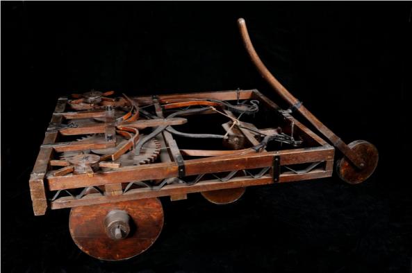 Model van een zelfrijdende auto, uit de collectie van Museo Nazionale della Scienza e della Tecnologia.