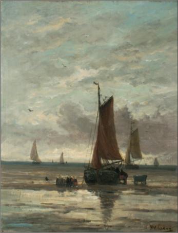 Hendrik Willem Mesdag (1831-1915), Strand met bom en volk, ca. 1900.