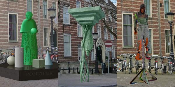 De ontwerpen van Nicolas Dings (links), Anno Dijkstra  (midden) en Folkert de Jong (rechts). Bron: Oud Utrecht.