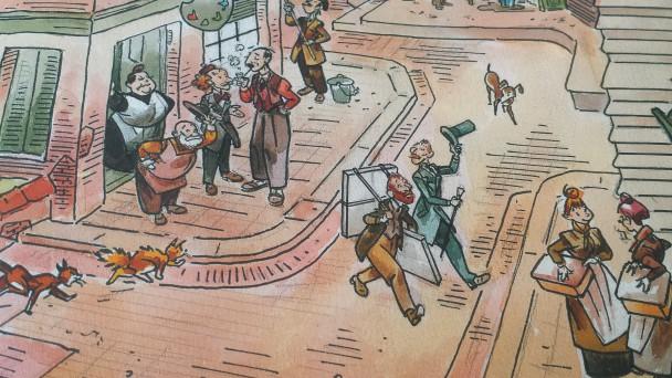 Detail uit tekening van Dick Matena in het boekje Sammie en Nele bij Van Gogh.