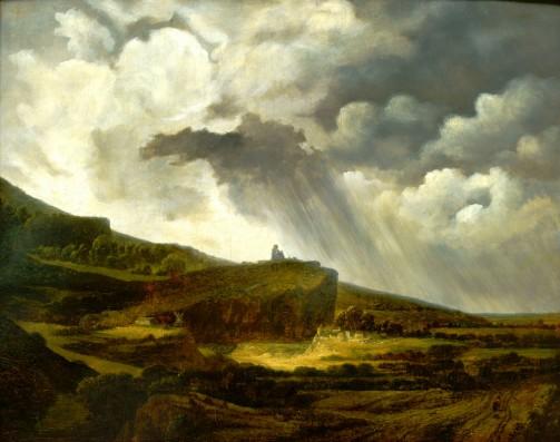 Georges Michel (1763-1843), Gezicht op de heuvel van Montmartre (Avant l'Orage), olieverf op paneel, collectie Museum Gouda.