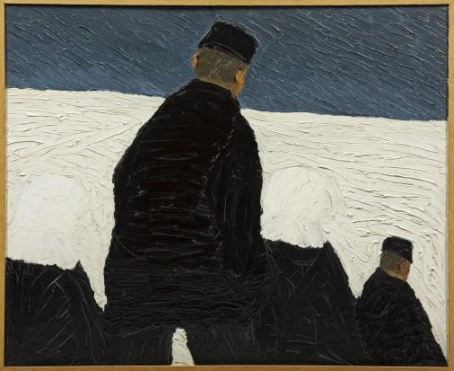 H.N. Werkman (1882-1945), Kerkgang in de sneeuw, 1919, olieverf op doek, collectie Groninger Museum, aankoop met steun van de Vereniging Rembrandt. Foto: Marten de Leeuw.