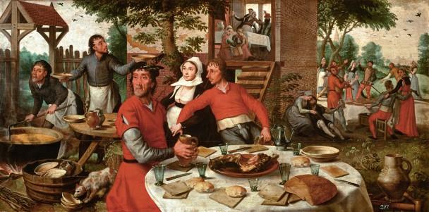 Pieter Aertsen, Het boerenfeest, 1550. Paneel, 85 x 171 cm. Collectie Kunsthistorisches Museum, Wenen.