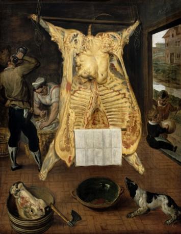 Marten van Cleve, De geslachte os, 1566. Paneel, 68 cm x 53,5 cm. Collectie Kunsthistorisches Museum, Wenen.