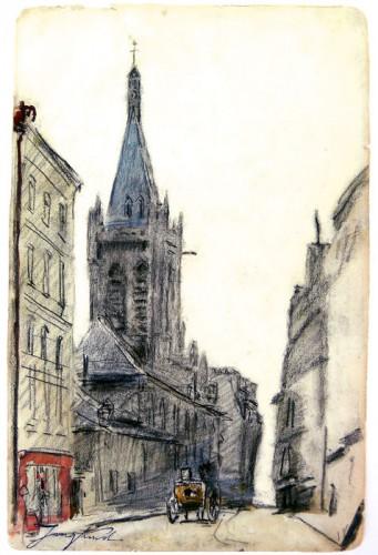 Johan Barthold Jongkind (1819-1891), voorstudie voor L'église Saint-Séverin.