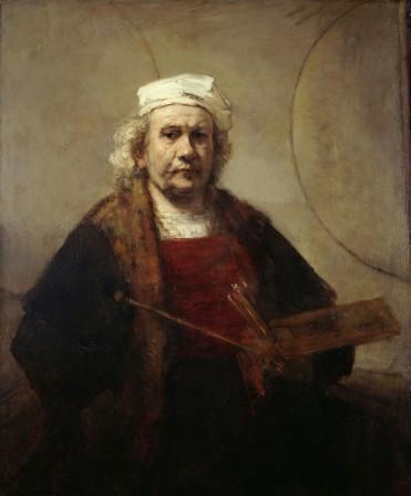 Rembrandt Harmensz. van Rijn, Zelfportret met twee cirkels, ca 1665-1669. Kenwood House, London, The Iveagh Bequest.