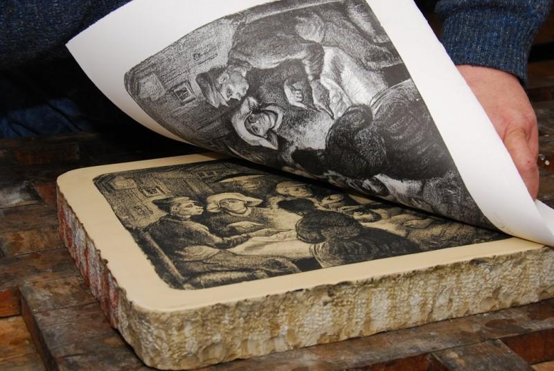 Herdruk van de litho van De aardappeleters. Foto: Nederlands Steendrukmuseum.