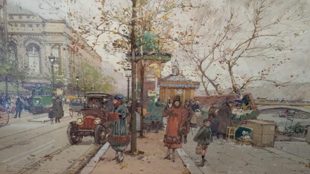 Eugène Galien-Laloue, Parijs, langs de Seine bij het Théâtre Sarah Bernhardt, ca. 1900. Waarde: 18.000 euro. Foto: Evert-Jan Pol.