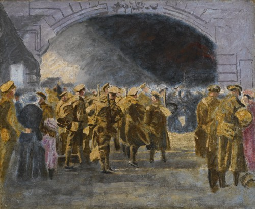 Sir Winston Churchill (1874-1965), Troops Going to the Front, 1927.