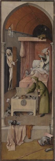 Jheronimus Bosch, Dood en de vrek, circa 1485-1490, olieverf op paneel, National Gallery of Art, Washington, Samuel H. Kress Collection. Foto: Rik Klein Gotink voor het Bosch Research and Conservation Project.