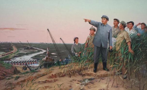 Kim Il-sung kijkt naar iets op dit schilderij (detail) van Paekho Kunststudio. Foto: Evert-Jan Pol.