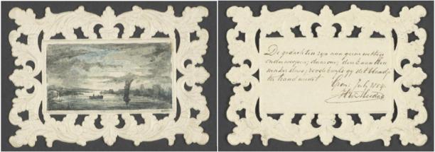 De opgedoken aquarel van Mesdag, met daarnaast het gedicht, collectie Nationaal Archief.