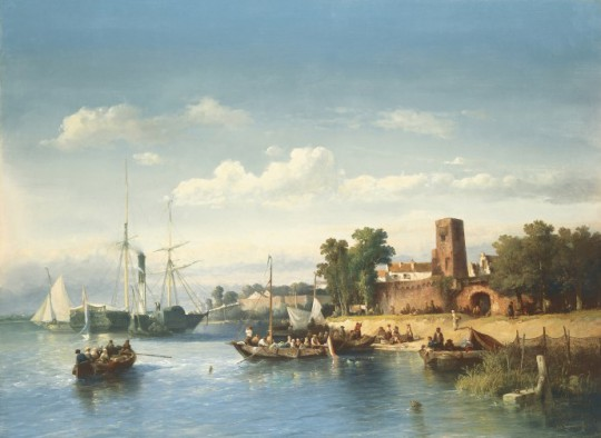 Salomon Verveer (1813-1876), De Merwede voor Woudrichem met raderboot en veerpont, olieverf op doek, collectie Simonis & Buunk, Ede.