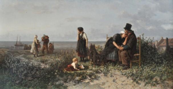 Elchanon Verveer (1826-1900) , De terugkeer van de vissersvloot. Vreugde en radeloosheid, ca. 1865-1866, collectie Galerie Nieuw Schoten, Haarlem.