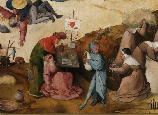 Jheronimus Bosch, Hooiwagen-triptiek (Details). Olieverf op paneel. Collectie Museo Nacional del Prado, Madrid.