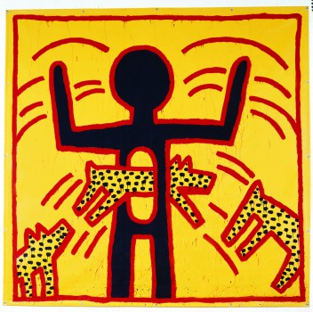 Keith Haring, Zonder titel, vinylverf op vinyltarp, 365,7 x 375,9 cm, 1982 © Keith Haring Foundation. Collectie Salama bint Hamdan Al Nahyan Stichting, Abu Dhabi.