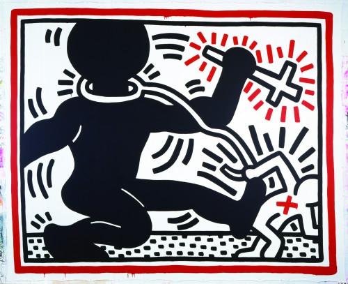 Keith Haring Zonder titel, acryl op tarp (zeildoek), 289 x 365 cm, 1984 © Keith Haring Foundation. Collectie Stedelijk Museum Amsterdam.