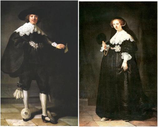 Rembrandts huwelijksportretten van Maerten Soolmans en Oopjen Coppit uit 1634. Foto's: Wikipedia.