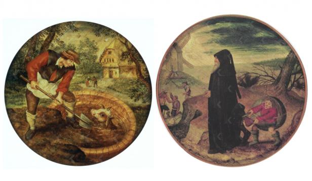 Pieter Brueghel de Jonge (1564/65-1638), Als het kalf verdronken is, dempt men de put (links) en De Trouweloosheid van de wereld.