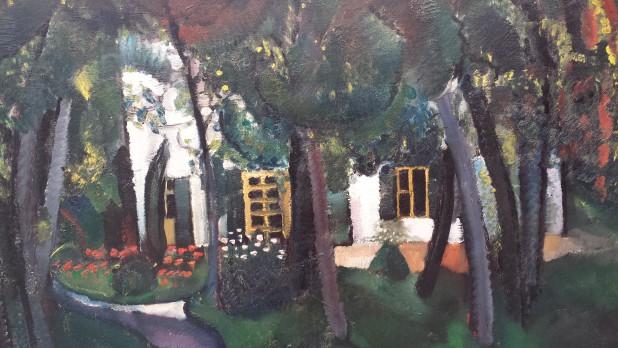 Charley Toorop (1891-1955), Villa met vijver, 1915 (detail), particuliere collectie. Foto: Evert-Jan Pol.