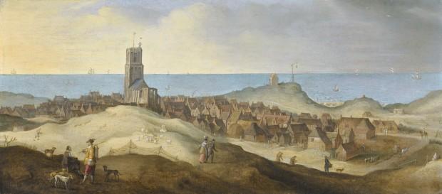 Claes Jacobsz van der Heck en werkplaats, Gezicht op Egmond aan Zee (na 1635), olieverf op paneel, bruikleen particuliere collectie.
