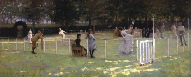 John Lavery, The tennis party, olieverf op doek, 1885, Aberdeen Art Gallery & Museums Collections, Aberdeen.