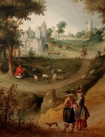 Claes Jacobsz van der Heck, Landschap met elegante figuren, 1616, olieverf op doek, bruikleen Museen der Stadt Bamberg, Historisches Museum Bamberg.