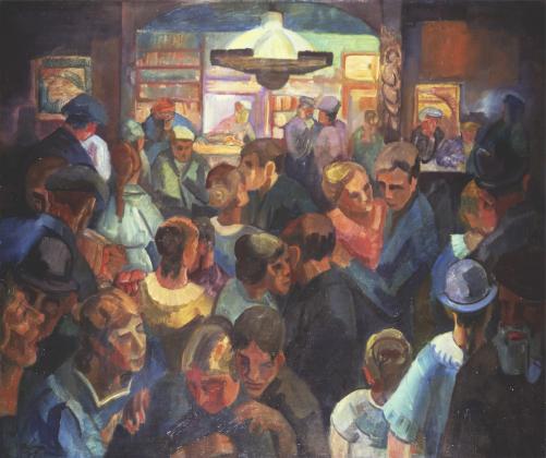 Frans Huysmans, Kermis in de Rustende Jager in Bergen, 1914, olieverf op doek, Singer Laren, schenking Renee Smithuis.