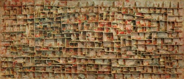 Reliëf postkantoor Hippolytusbuurt, Delft, 1958, karton, papier-maché, verf en hout, 115 x 265 cm, collectie Koninklijke KPN, in bruikleen Rijksmuseum Amsterdam. Foto Redivivus Den Haag | © Pictoright.