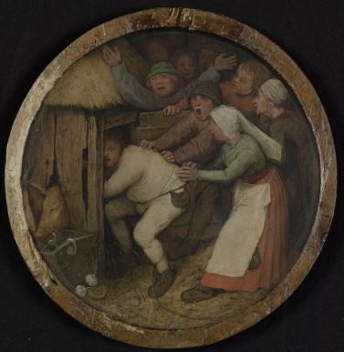 Pieter Bruegel de Oude, De dronkaard in het varkenskot, 1557, paneel, diameter 18-20 cm, particuliere collectie.