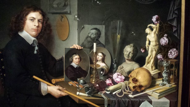 David Bailly (1584-1657), Zelfportret met allegorisch stilleven, 1651 (detail), Museum De Lakenhal, Leiden. Foto: Evert-Jan Pol.