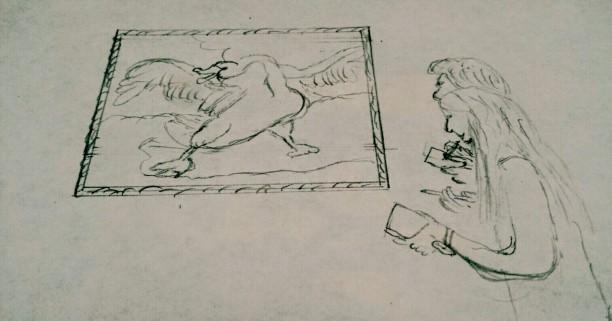 Twee bezoekers tekenen De bedreigde zwaan van Jan Asselijn. Tekening: Evert-Jan Pol.