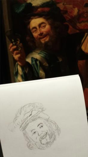 Een vrolijke vioolspeler van Gerard van Honthorst. Foto en tekening: Evert-Jan Pol.